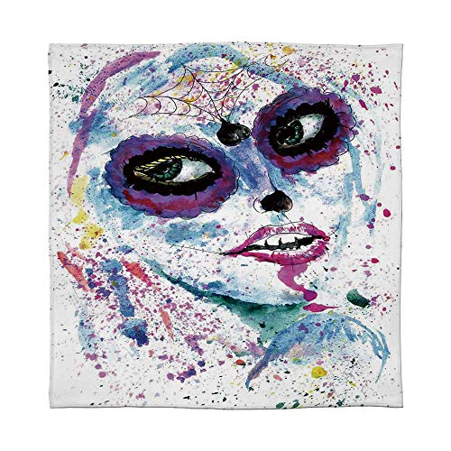 YOLIYANA Ultra-Soft Flannel Blanket,Girls,for Bed Couch Chair,Size Throw/Twin/Queen/King,Grunge Halloween Lady with Sugar Skull Make