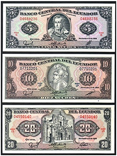 1988 EC ORNATE MULTICOLOR 30-YEAR OLD ECUADOR CURRENCY SET in GEM UNCIRCULATED CONDITION!! 5, 10 adn 20 SUCRES Gem Crisp Uncirculated