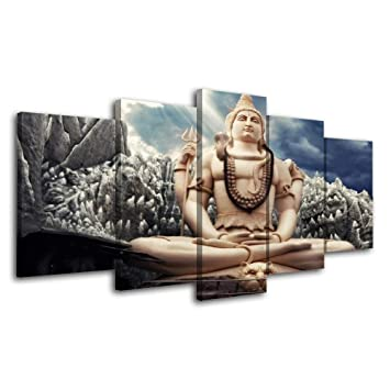 kdllk leinwand poster wohnkultur wohnzimmer 5 stucke hindu gott shiva malerei modulare hd drucke buda marvel