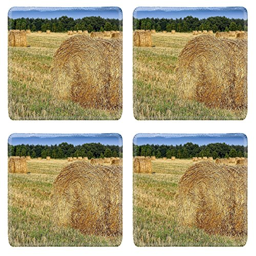 MSD Natural Rubber Square Coasters IMAGE ID: 30848004 Hay bail harvesting in a field (Bail Hay)