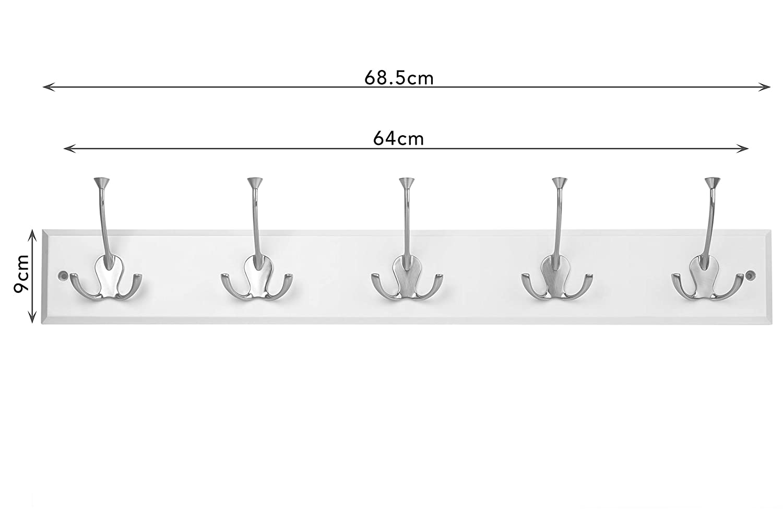 Maine Hat und Coat Rack mit 5/Heavy Duty Dreifach-Haken Wei/ß mit Nickel Haken Holz 68,5/x 5/x 14/cm