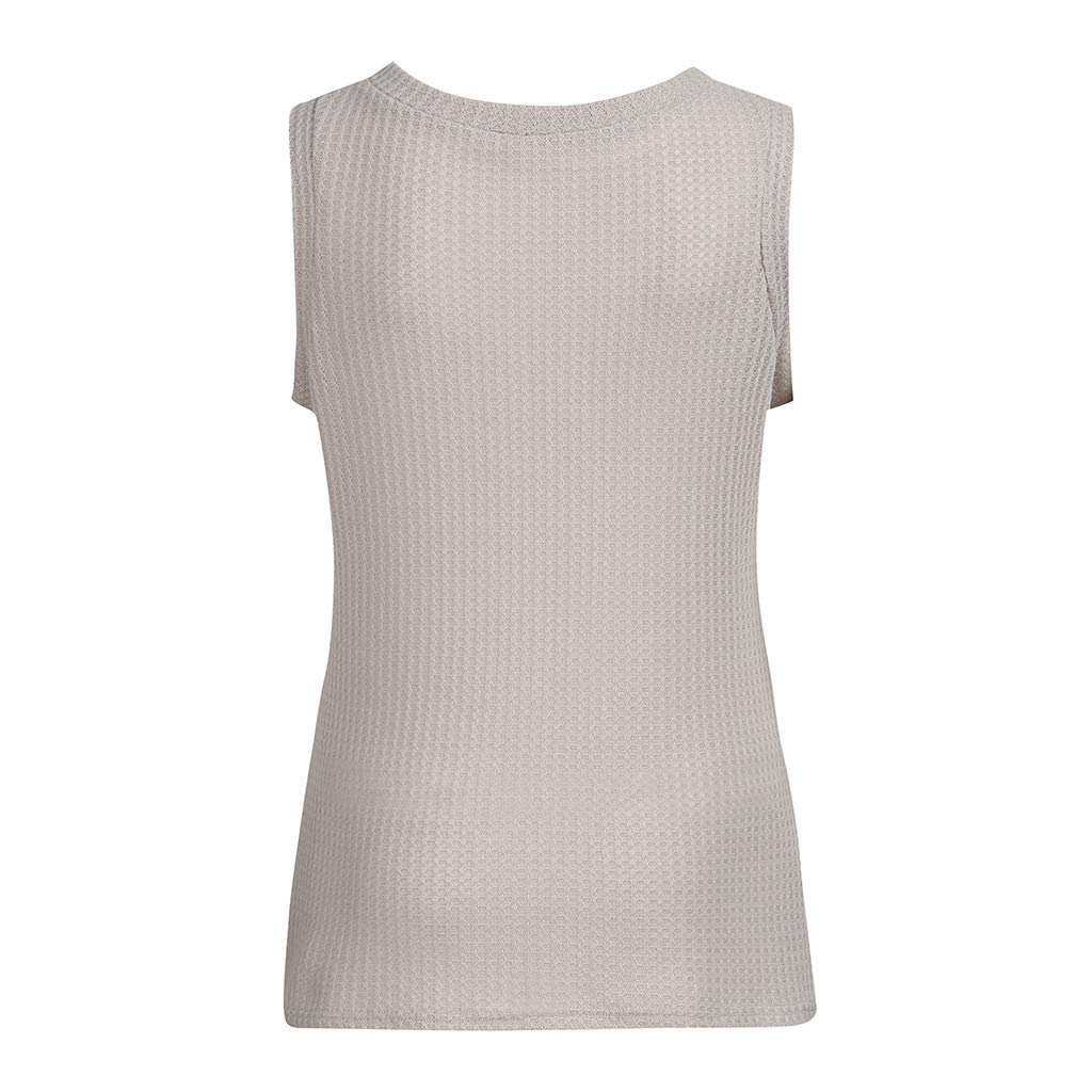 Womens Casual Tops Summer Sleeveless Cute Twist Knot Waffle Knit Shirts Tank Tops Solid O-Neck Pullover Comfy Chaofanjiancai
