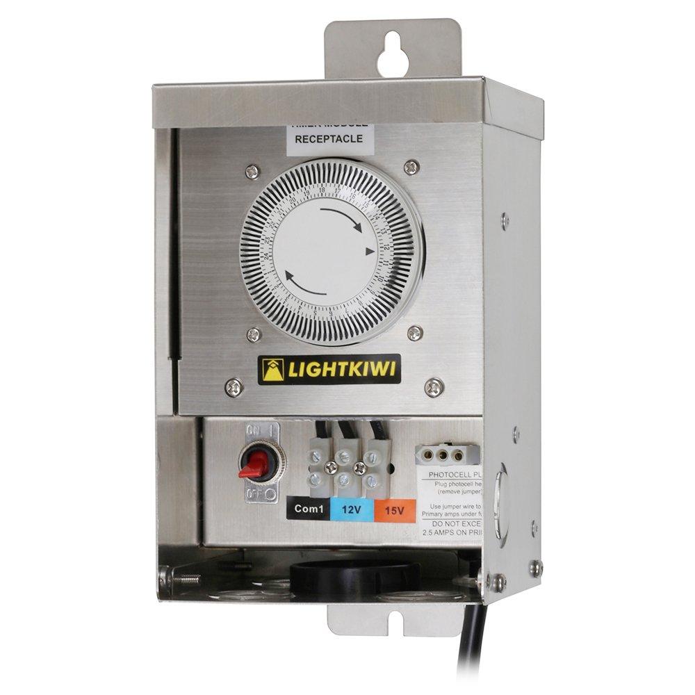 Lightkiwi U2184 75 Watt Heavy-Duty Stainless Steel (12V-15V) Multi-Tap Low Voltage Transformer for Landscape Lighting