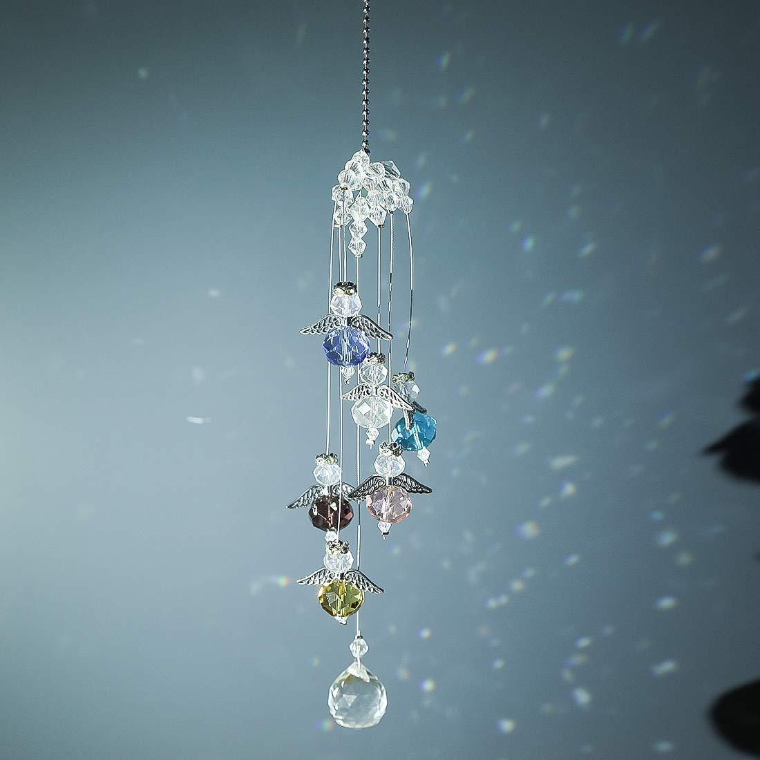 Garten H/&D Kristall Kronleuchter Prismen Dekoration H/ängende Kristalle Sun Catcher mit 6 kleinen Engeln f/ür Fenster