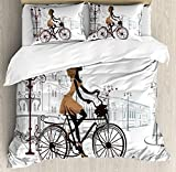 4 Piece Teen Room Decor Duvet Cover Set Twin Size Young Girl in Paris Streets with Bike French Display Bedding Set Includes 2 Pillow Shams Ultra Soft Hypoallergenic Microfiber (No Comforter)