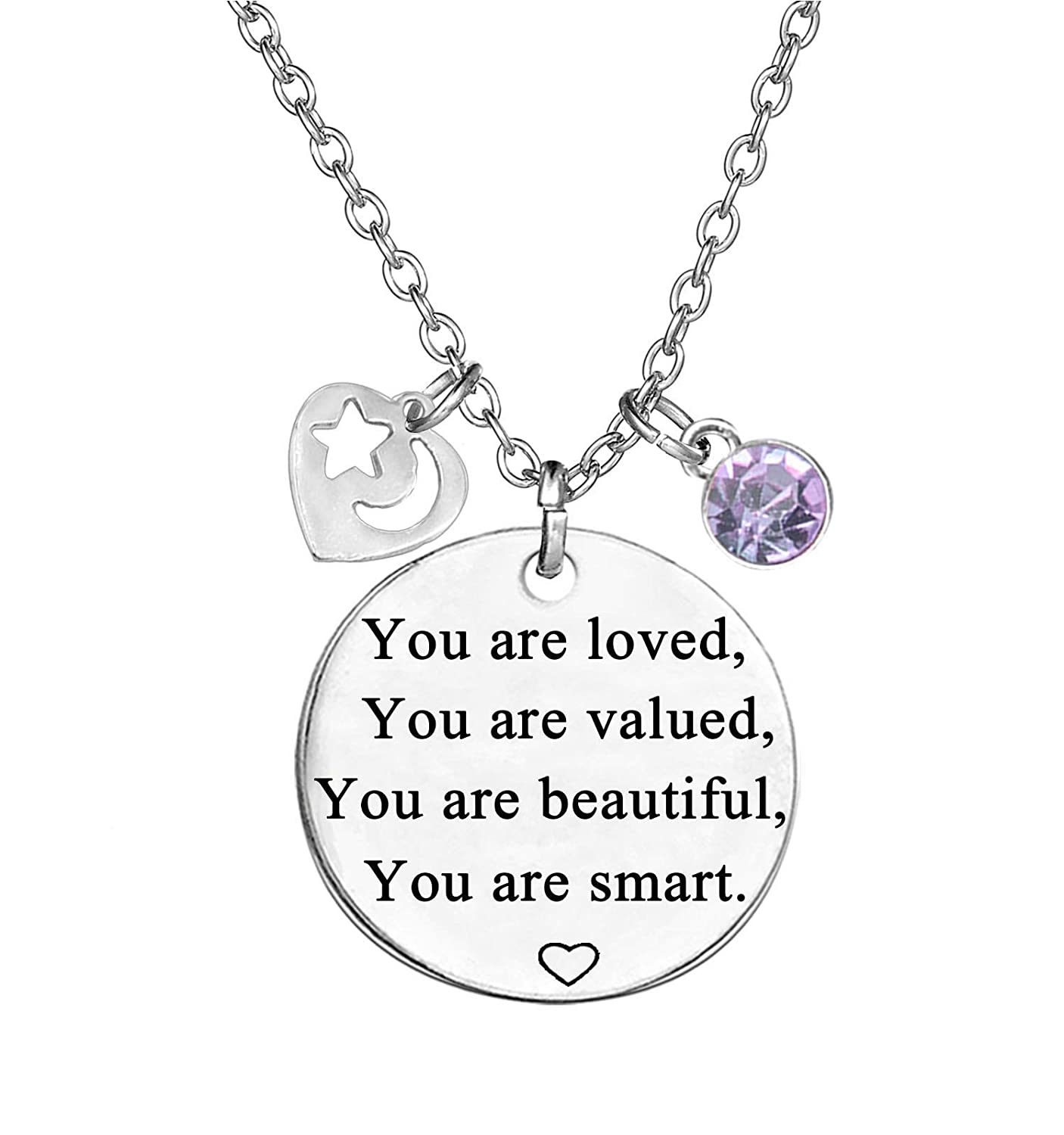 TISDA Birthstone Crystals Necklace, You are Loved You are Valued You are Beautiful You are Smart Necklace 18 Chain