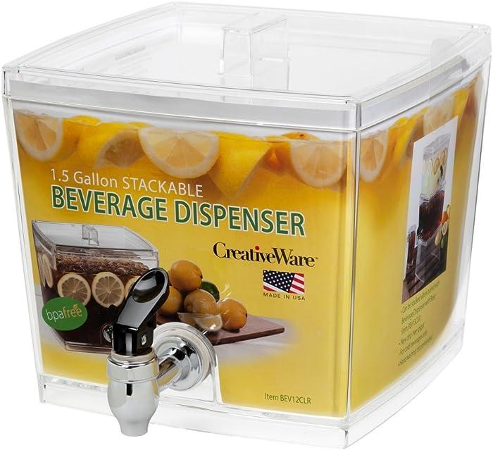 Creative Bath CreativeWare BEV12CLR Beverage Dispenser with No Base Sleeve, 1.5 gallon, Clear