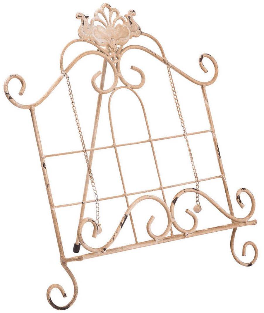 Biscottini Leggio da appoggio in ferro battuto finitura bianca anticata L35, 5xPR28xH35, 5 cm