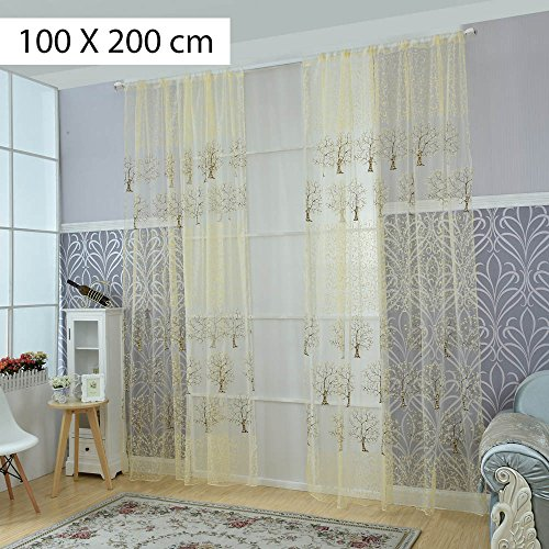 Voile Curtains Drape Offset Print Tree Tulle Sheer Door Window Screening Curtain for Bedroom Living Room Hotel Decoration Beige 100x200 cm - Hotel Collection Windows