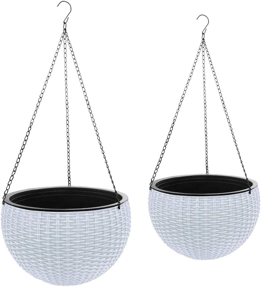Gray Bunny Self-Watering Hanging Planter Basket with Water Reservoir, White, Set of 2, Self Watering Round Resin Hydroponic Garden Flower Pot Set for Plants, for Home & Garden, Porch or Balcony