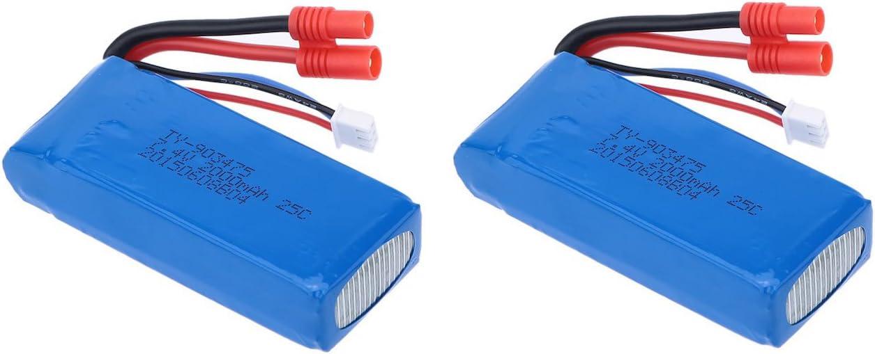Pack 2 Baterias Lipo 7,4V. 2000Mah. para Drone Syma X8 X8C X8W X8G X8HC X8HG X8HW, Predator y similares: Amazon.es: Juguetes y juegos