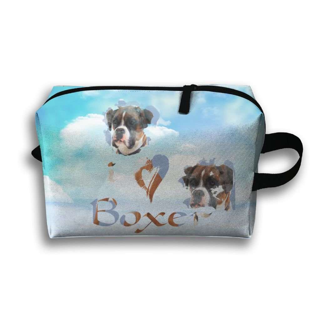 Michgton Cosmetic Bag I Love Boxer Dog Adult Unique 3D Printing Travel Multifunction Makeup Case