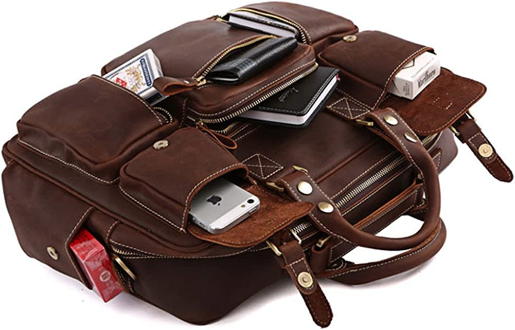 "High Quality Handmade bags Bags World 100% Rare Crazy Horse Handmade Leather Men's Briefcase Laptop Bag Dispatch Shoulder Huge,Brown,16.5"" L x 5"" W x 12"" H Dark Brown"
