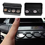Vipeco 1Pc Car Interior Coin Holder with Lid, Black Plastic Cent Case Auto Storage Box Container Organizer