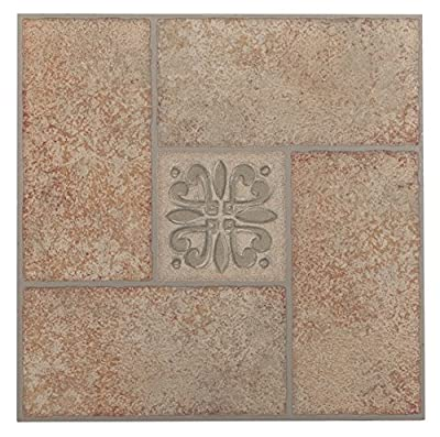 Achim Imports FTVMA42145 Tivoli Beige Terracotta Motif Center 12x12 Self Adhesive Vinyl Floor Tiles/45 Sq Ft, Piece