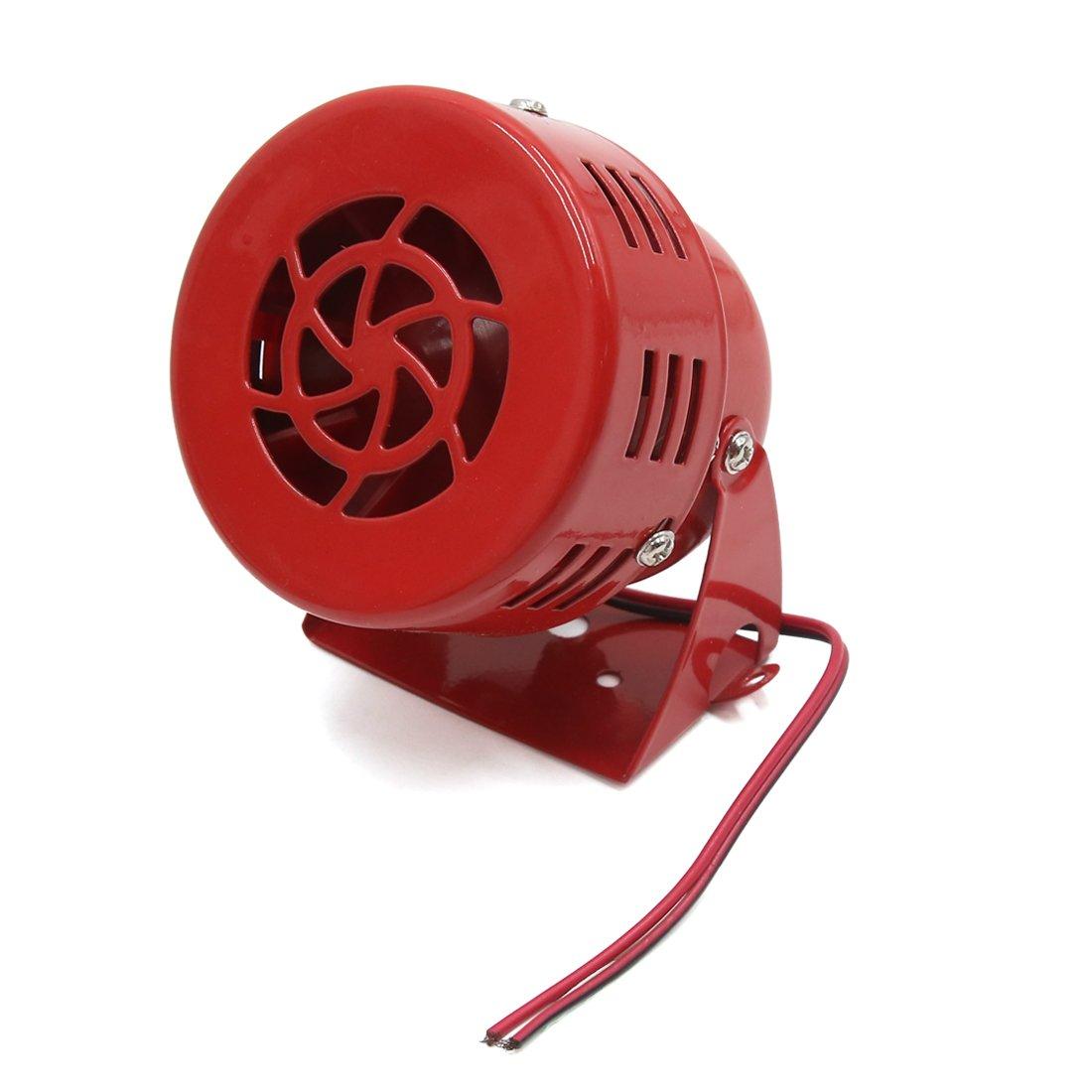 SOURCING MAP sourcingmap® Impulsado roja del metal Accesorio de Motocicleta universal eléctricas de alarma Aire Sirena Pito Claxon Horn Bocina Ruidoso DC 12V a17031700ux0808