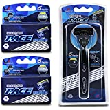 Dorco Pace 6 Plus Power - Six Blade Power Razor System with Trimmer - 9 Cartridges + 1 Handle