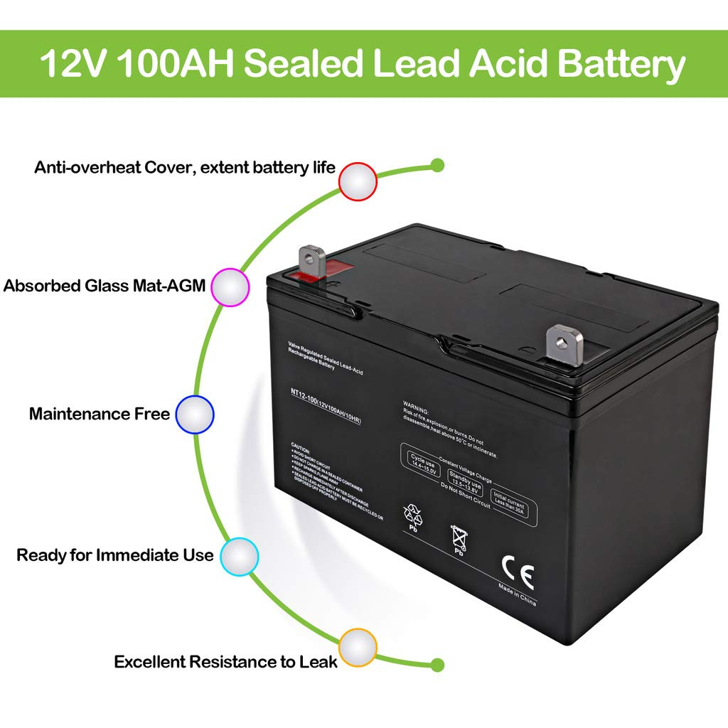 Replaces For 12V 90AH UB121000 Batteries Hykolity Deep Cycle AGM Battery 12-Volt 100Ah For Solar Panel Wind Energy Storage