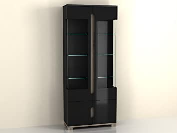 furniturefactor lorenz high gloss black display cabinet with 2 glass rh amazon co uk Glass Corner Display Cabinet Glass Corner Display Cabinet