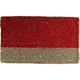Tag Two-Tone Coir Mat, Decorative All-Season Mat for the Front Porch, Patio or Entryway, Red