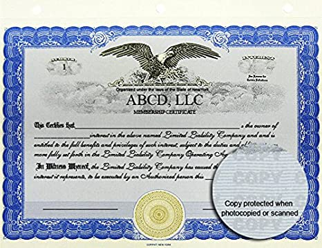 amazoncom 100 blue corpkit standard wording limited liability company membership certificates llc interest office products