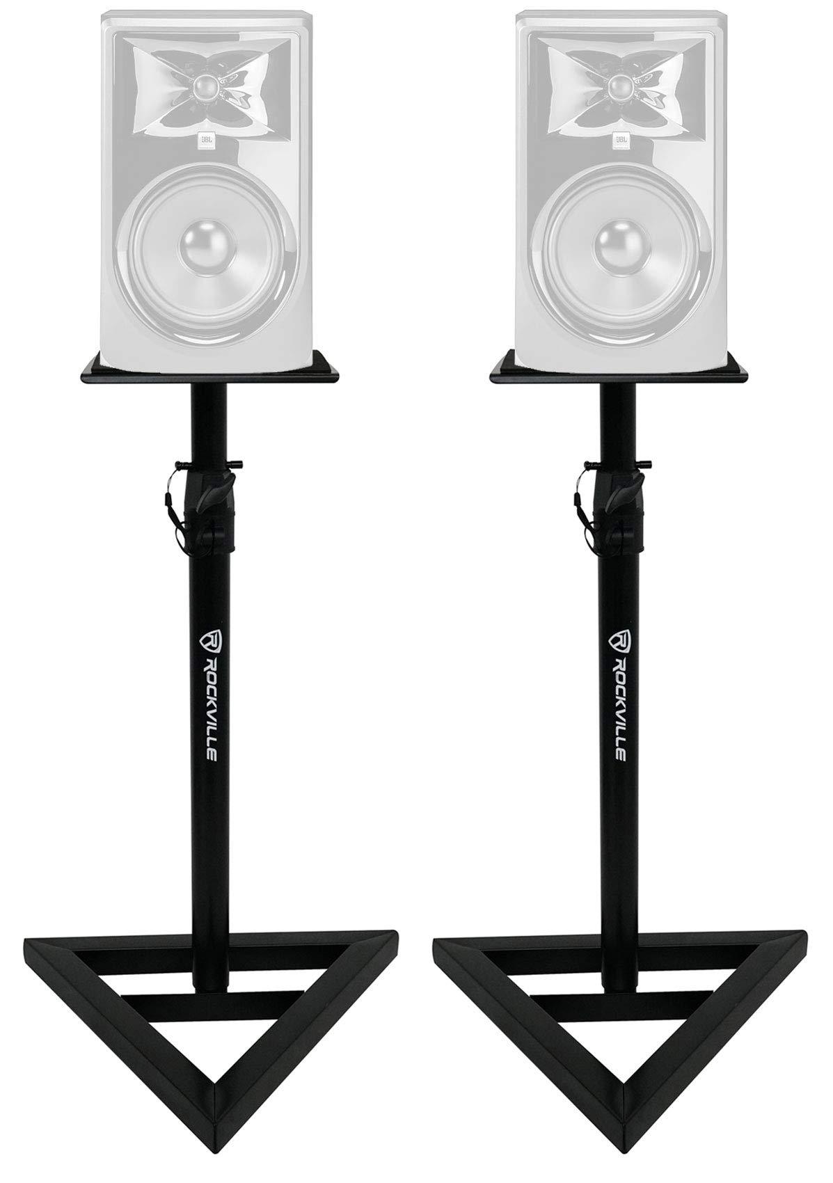 2) Rockville Adjustable Studio Monitor Speaker Stands For JBL 308P MKII Monitors