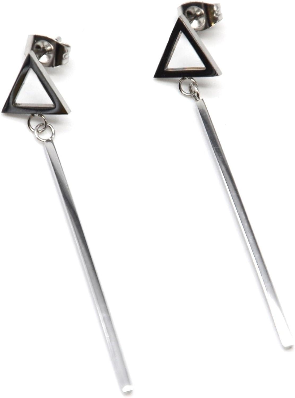 1 paire de boucles d/'oreilles pendantes à double triangle en acier