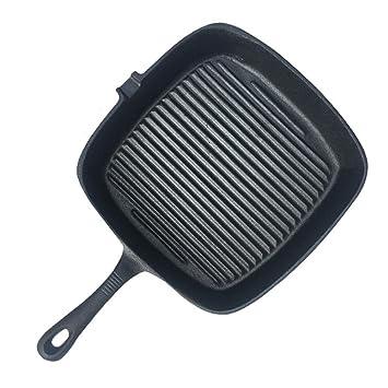 ZHESHEN Plancha Sartén De Hierro Fundido Pre-Sazonado Negro Antiadherentes Inducción Grill – 26 Cm