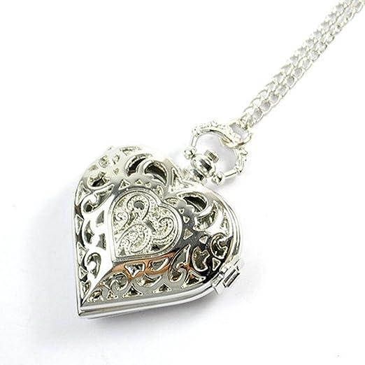 Plateado con forma de corazón colgante de reloj y Pandora corazón reloj collar novia regalo: Amazon.es: Relojes