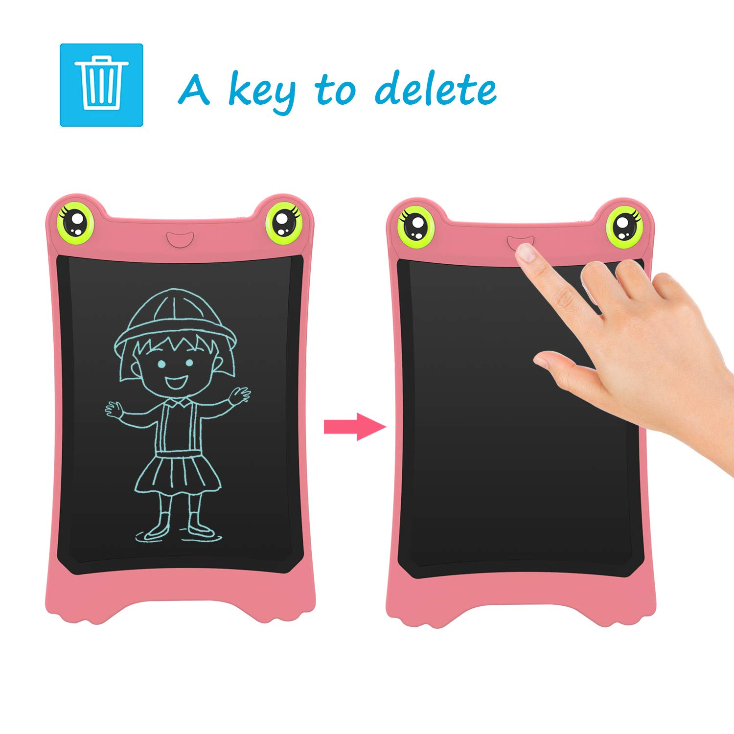 NEWYES 8.5 Inch LCD Writing Tablet Updated Frog Pad Children Electronic Doodle Board Jot Digital E-Writer Kids Scribble Toy with Lock Function Pink by NEWYES (Image #4)