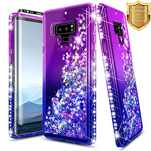 Galaxy Note 9 Glitter Liquid Case w/[Full Coverage Screen Protector 3D PET HD Clear], NageBee Quicksand Waterfall Floating Flowing Sparkle Shiny Bling Diamond Girls Cute Case -Purple/Blue