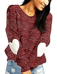 Women's cute Heart Pattern Patchwork Long Sleeve Round...