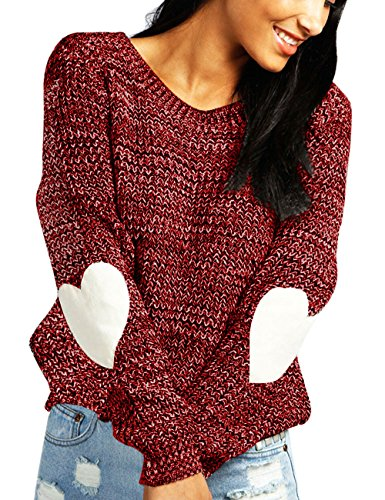 Shermie Women's cute Heart Pattern Patchwork Casual Long Sleeve Round Neck Knits Sweater Pullover Thick Red ()