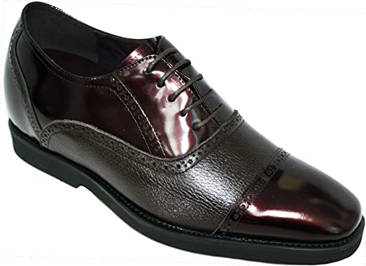 K320022 - 2.4 Inches Taller - Height Increasing Elevator Shoes-Dark Wine Leather Cap-toe