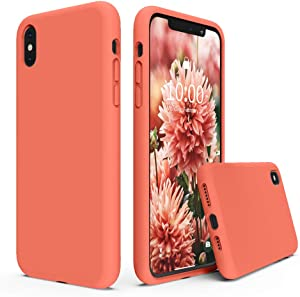 SURPHY Silicone Case Compatible with iPhone Xs Max Case, Soft Liquid Silicone Shockproof Phone Case (with Microfiber Lining) Compatible with iPhone Xs Max (2018) 6.5 inches (Nectarine)