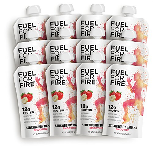 Fuel For Fire - Strawberry Banana (12 Pack) Fruit & Protein Smoothie Squeeze Pouch | Perfect for Workouts, Kids, Snacking - Gluten-Free, Soy-Free, Kosher, No Added Sugar (4.5 ounce pouches)
