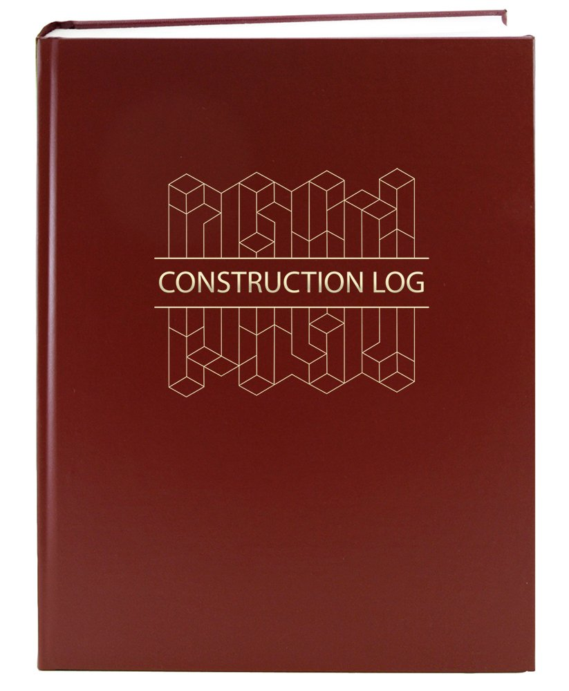 BookFactory Construction Daily Activity Log Book / 365 Day Construction LogBook (384 Pages - 8 7/8'' x 11 1/4'') Burgundy Cover with Blocks, Smyth Sewn Hardbound (LOG-384-7CS-A(ConstructionBlocks)) by BookFactory