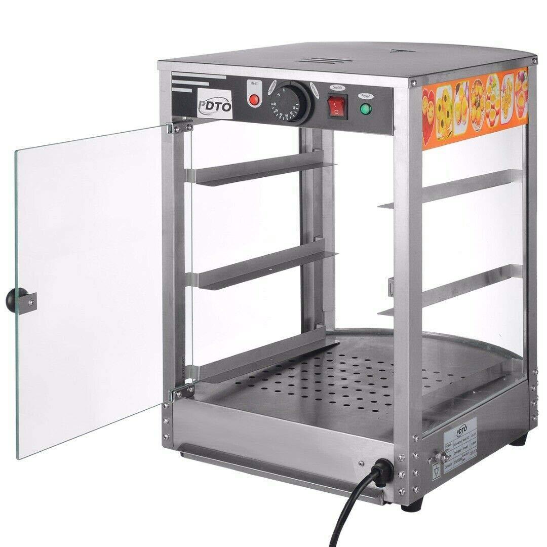 Vitrina de 3 niveles para pizza con calentador de alimentos