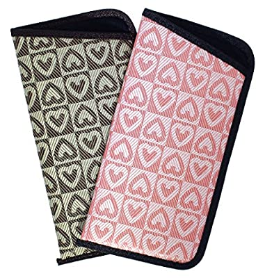 2 Pack Soft Slip In Eyeglass Case For Women, Checkered Hearts In Assorted Colors