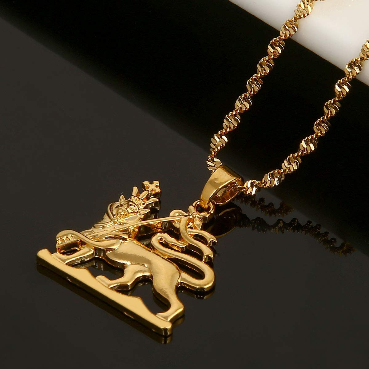 BR Gold Jewelry Pendentif dor/é Carte de lAfrique /Éthiopie Roi Lion Bijoux pour Homme Femme Cadeau de Mariage f/ête