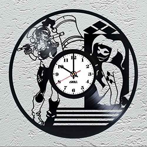 Harley Quinn Supervillain Vinyl Record Wall Clock for Comics FANS - Get unique living room wall decor - Gift ideas for boys and girls, friends, teens – Unique Art Design of Comics World Heroes - Harley Quinn Revenge Costume