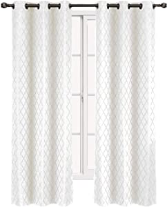 """Willow Jacquard White Grommet Blackout Window Curtain Panels, Pair / Set of 2 Panels,84"""" x 96"""" inches Each, by Royal Hotel"""