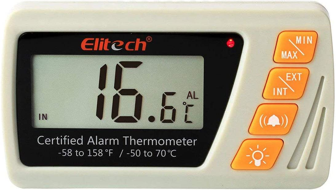 Elitech VT-10 Vaccine Thermometer with Glycol Bottle Probe Refrigerator Freezer Thermometer for Incubator Cooler Pharmacy Audible Alarm