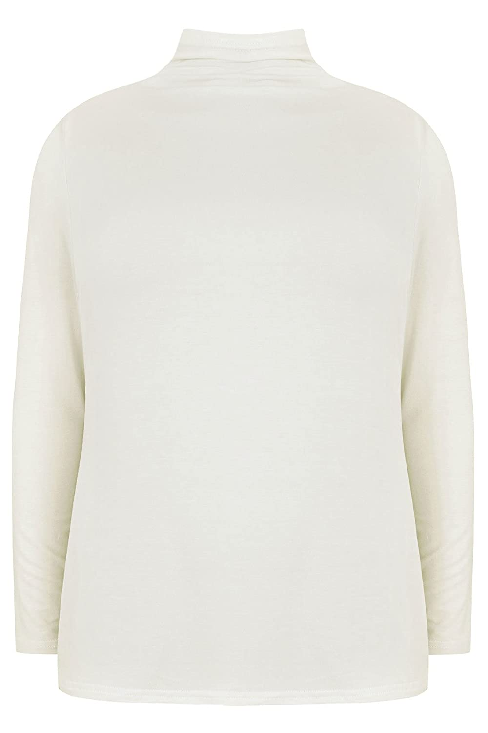 Yoursclothing Plus Size Womens Ivory Turtle Neck Long Sleeved Jersey Top