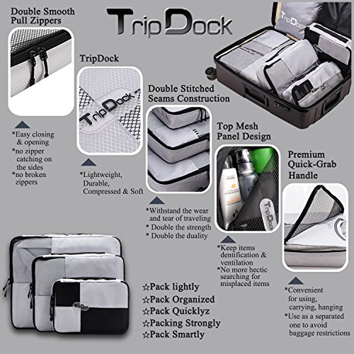 TripDock Various Packing Cubes 6 Set Lightweight Travel Luggage Organizers (1Grey(1Large+1Medium+1Small+1Slim+1 Shoes bag+1Laundry bag)) by TripDock (Image #3)