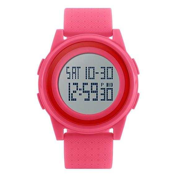 resistente al agua reloj de men/ botón grande/Los niños reloj digital-B: Amazon.es: Relojes