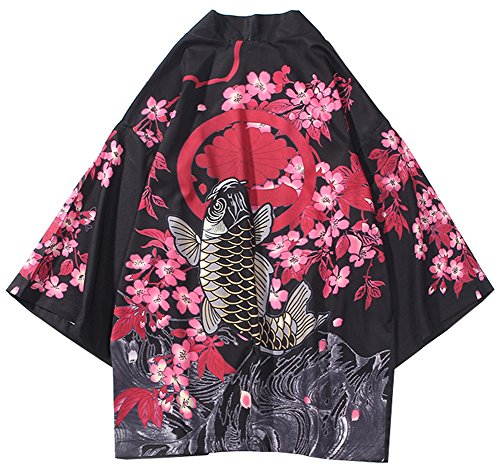 LifeHe Men's Kimono Japanese Floral Printed Kimono Cardigan Jackets Streetwear (Red, L)