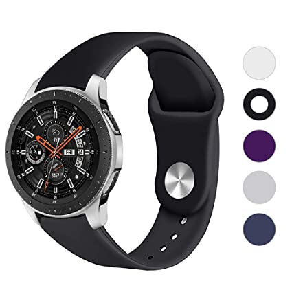 LittleForest 22mm Silicone Band Compatible for Garmin Approach S40 Samsung Galaxy Watch 46mm Ticwatch Pro Fossil Sport 43mm Bands, Soft Sport Silicone ...