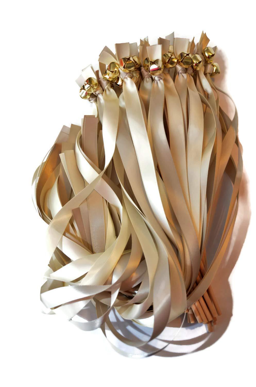 100 Platinum Ivory Ribbon Gold Bell Wedding Wands #DivinityBraid #SendOffBells #WeddingWands #Wedding #Favors #CeremonySendOff #Party #KissingBells #RibbonWands