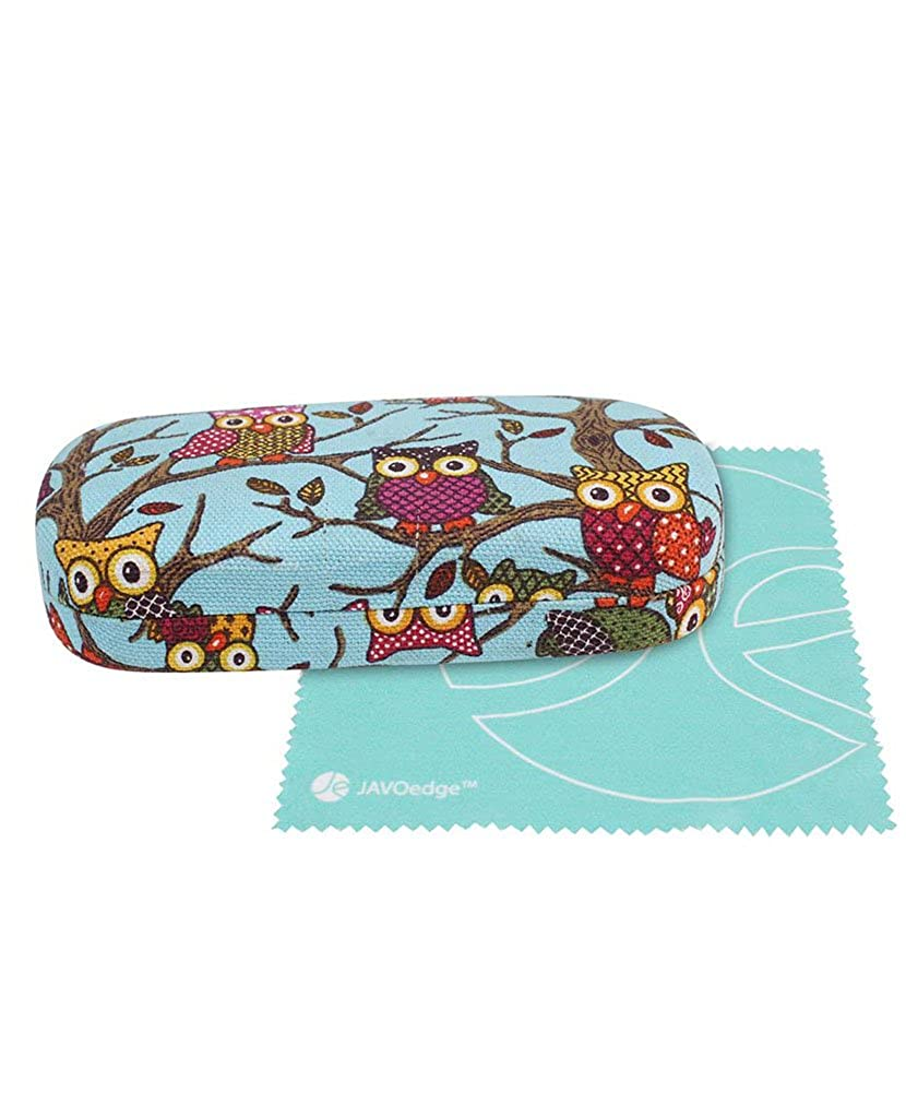 JAVOedge Owl Fabric Print Covered Clam Shell Style Eyeglass Case with Bonus Microfiber Glasses Cleaning Cloth SIZECLR-00476